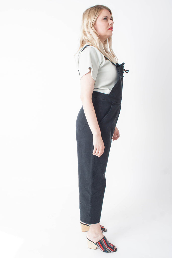 Loup Knot Overalls - Black Stretch Twill - Petite Exclusive at STATURE | staturenyc.com