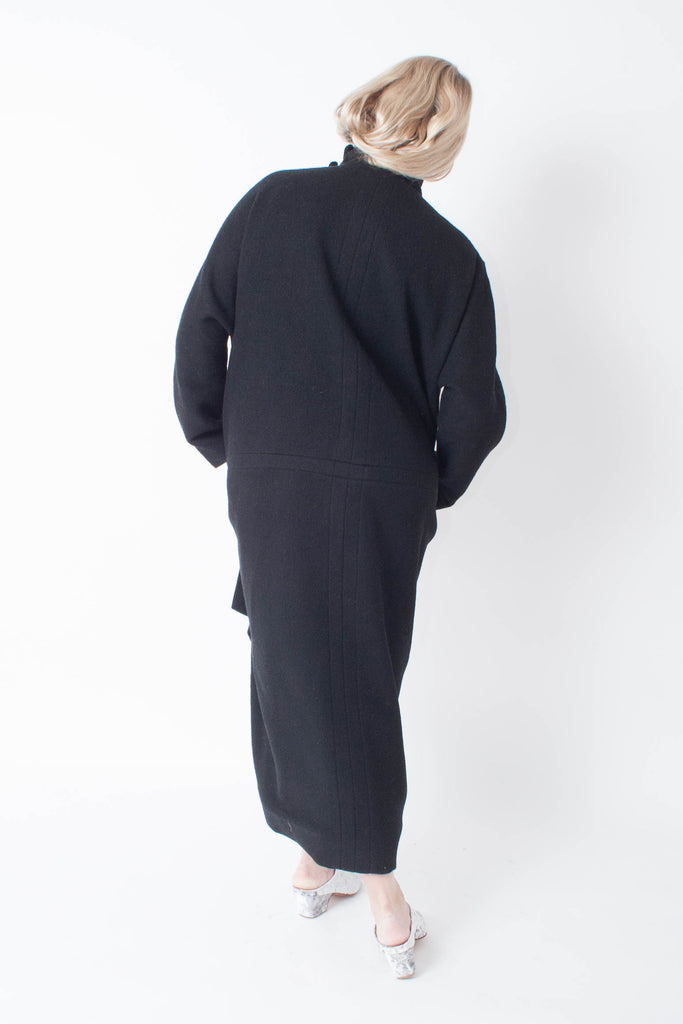 Rachel Comey Rosa Coat cocoon style in black wool blend and collar buckles