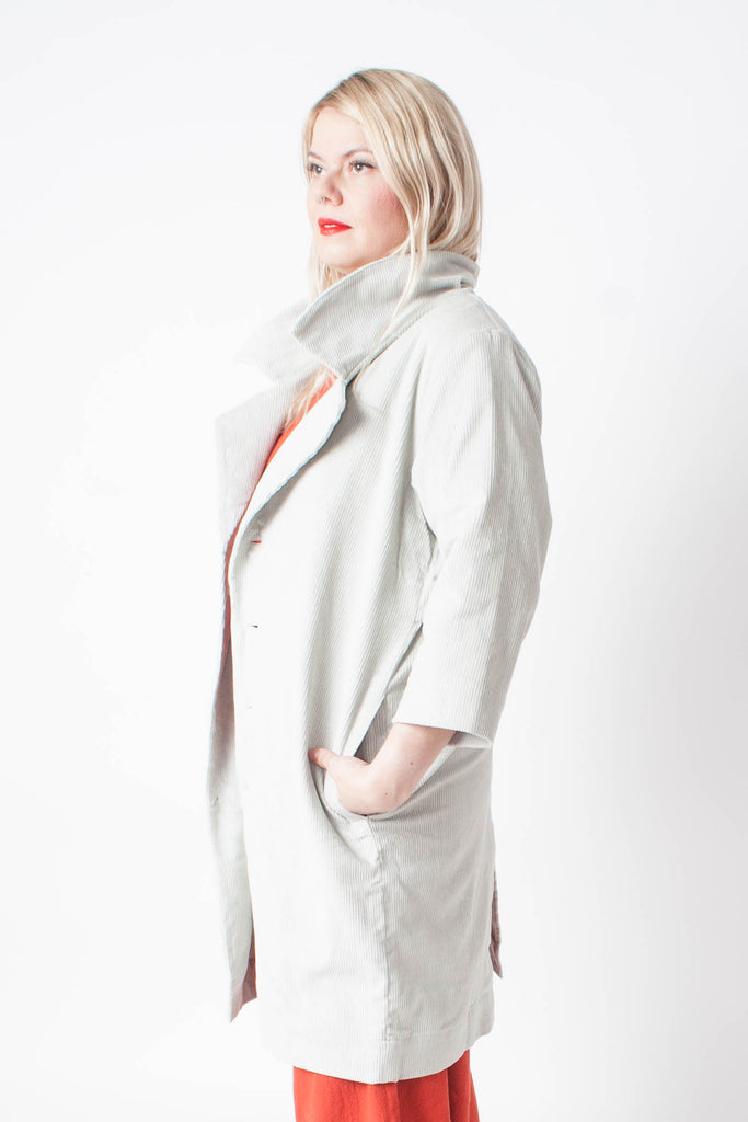 Ilana Kohn corduroy trench in the color Bone - seam pockets, back vent, slit detail, notched lapels