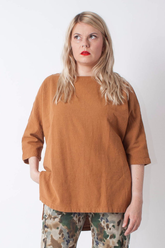 Esby Rebekah Woven Tunic in heavy cotton gauze with dolman sleeve in tan or camel color