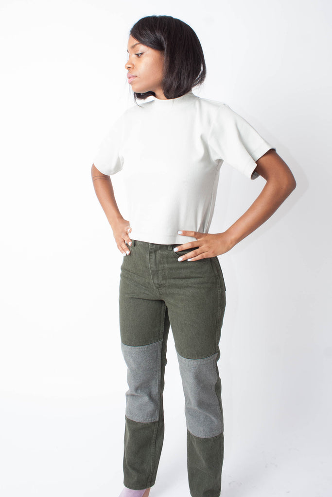 Two-Tone Jeans (Petite) - Sage
