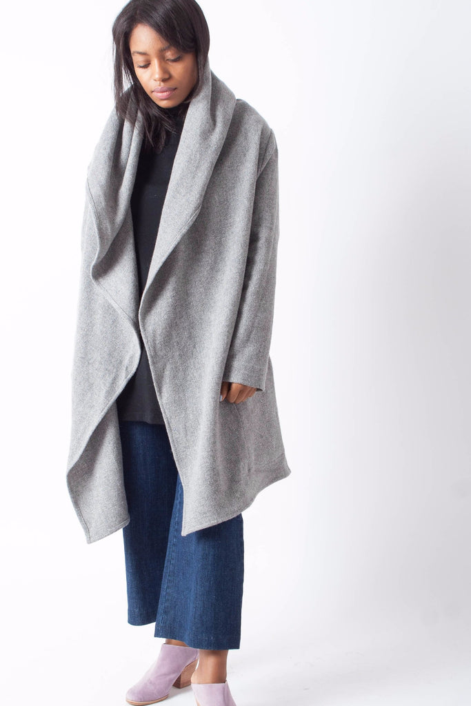 Hackwith Design House Hooded Sweater Wrap in gray