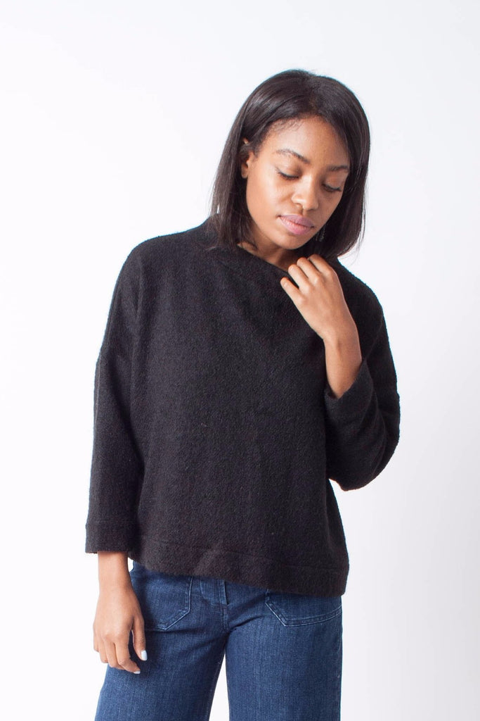 Hackwith Design House Cropped Mockneck Sweater - Black