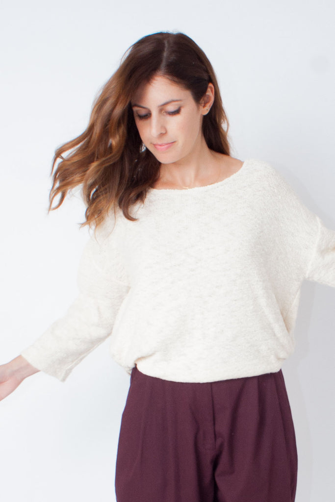 Hackwith Design House Knotted Cream Sweater