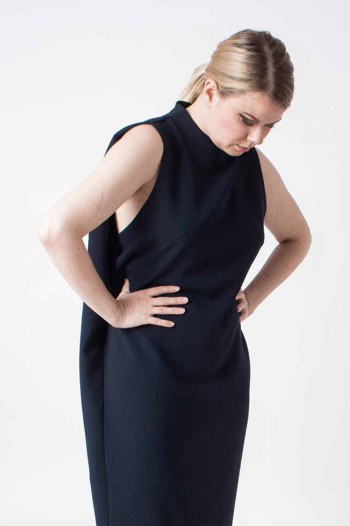 Dill High Collar Dress - Blue Black