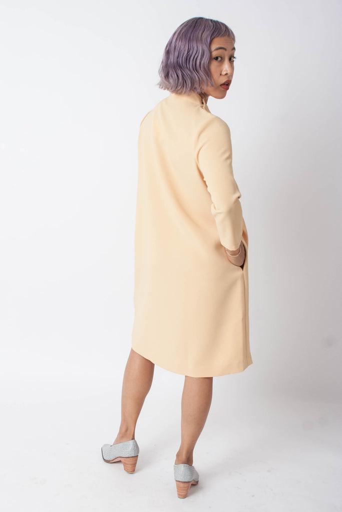Pure 3/4 Mockneck Dress (Petite) - Yellow