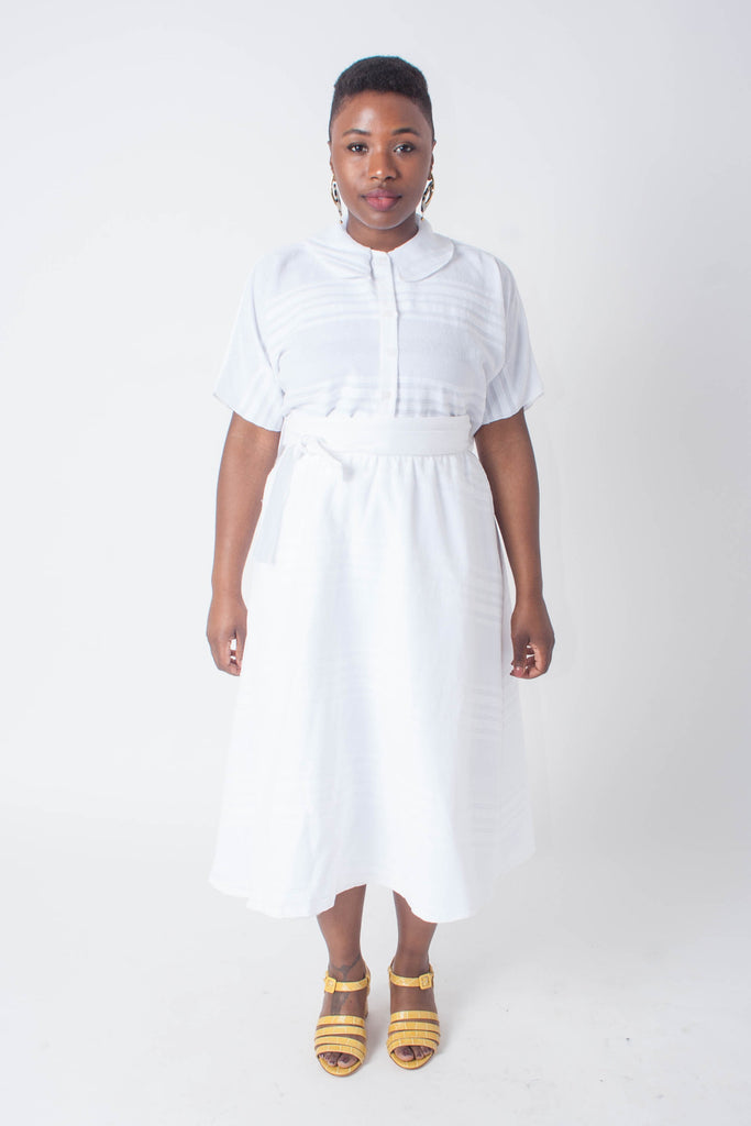 Loup - Lori Skirt - White Embroidered Stripes | Stature