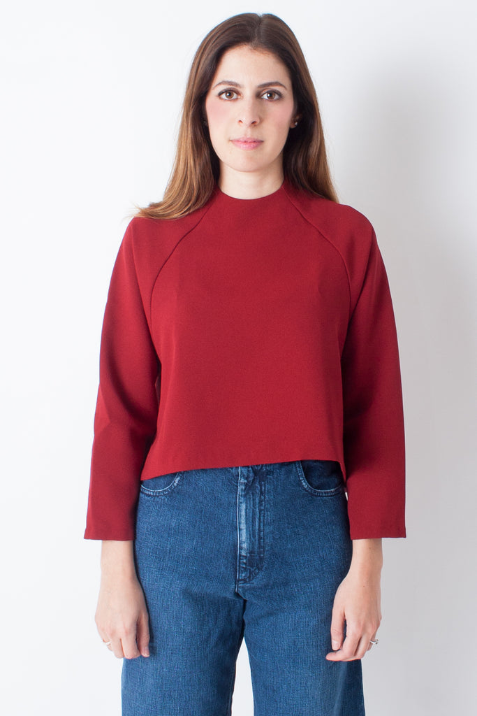 Kaarem Ostra Long Sleeve Raglan Top - Crimson Red