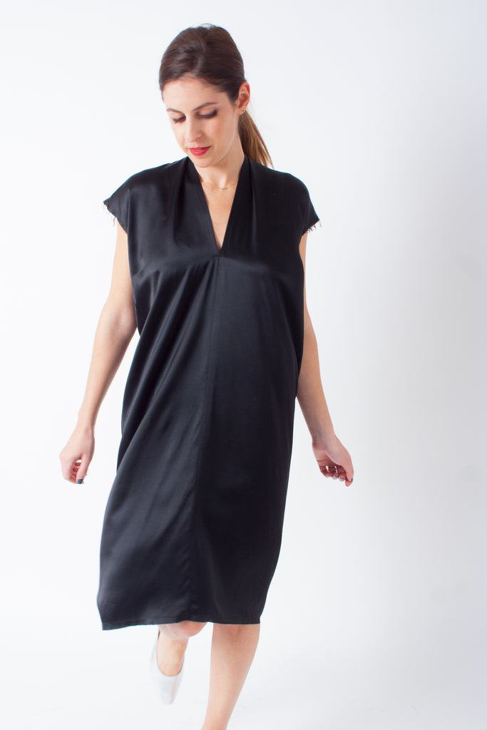 Everyday Dress by Miranda Bennett - petite exclusive in black silk charmeuse