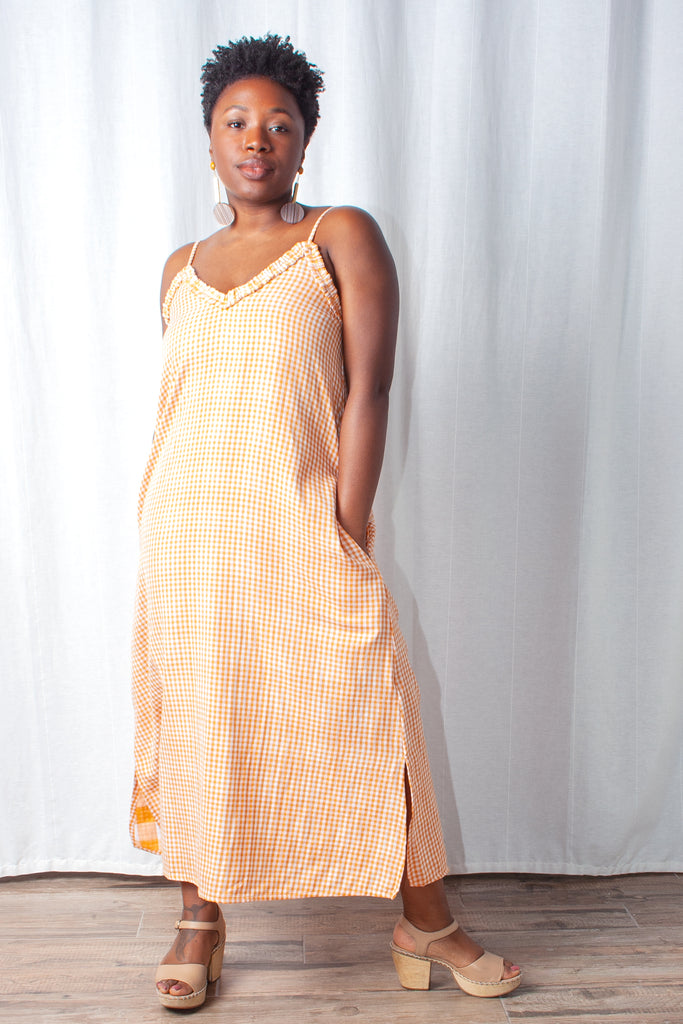 Wray - Slip Dress - Orange Check