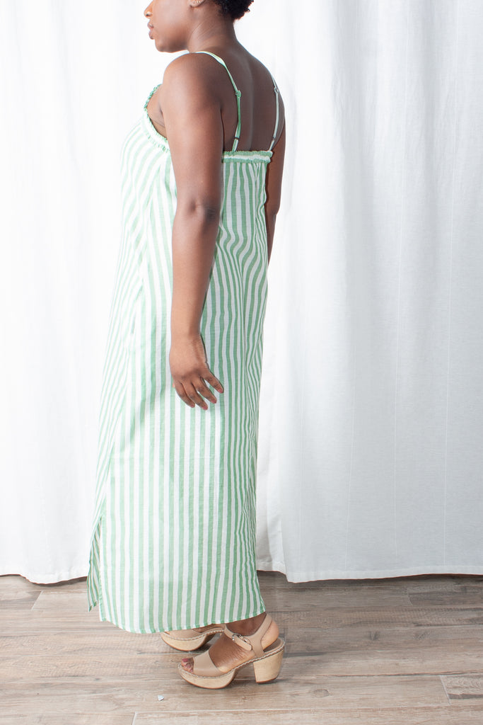 Wray - Slip Dress - Green Stripe