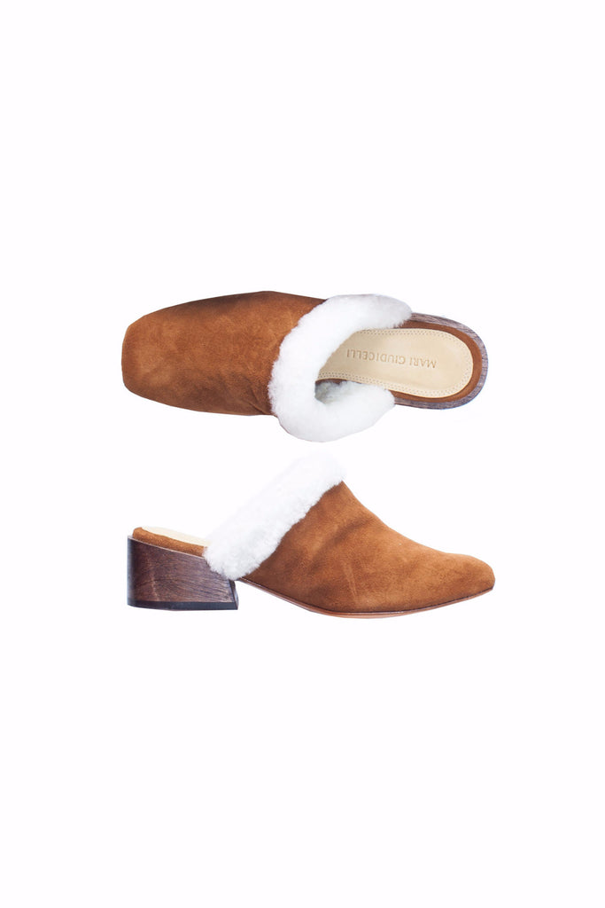 Mari Giudicelli Tan Shearling Lined Mule Shoes