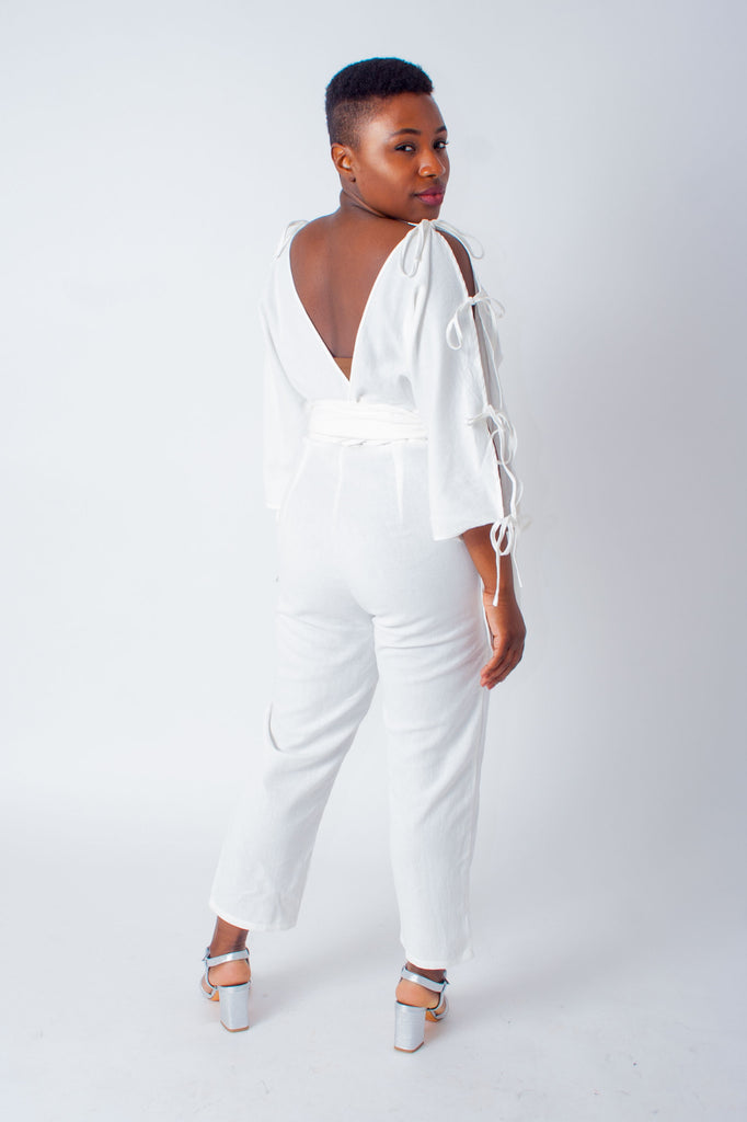 Samantha Pleet Harmonic Jumpsuit in White