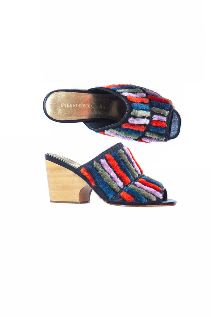 Rachel Comey Embroidered Stripe Peep-toe Dahl Slides