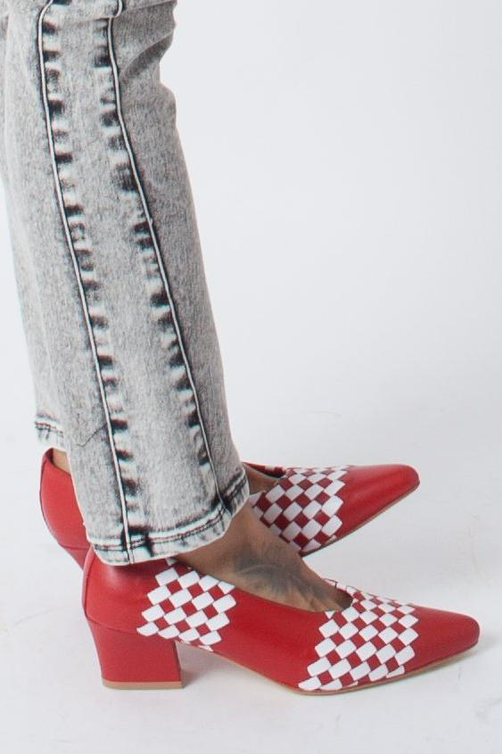 Maryam Nassir Zadeh Ruby Pump - Red/White Basketweave