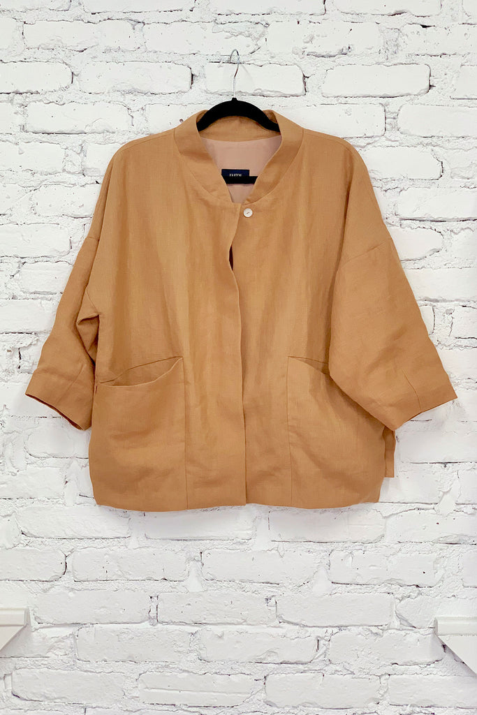 Kaarem Bo Bo Zipper Pocket Anorak - Brown Sand at STATURE | staturenyc.com