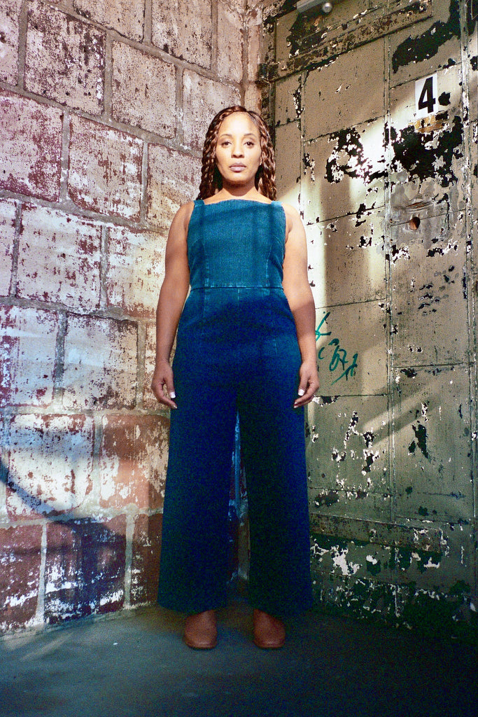 Loup Brenda Jumpsuit - Dark Indigo Denim - Petite Exclusive at STATURE | staturenyc.com