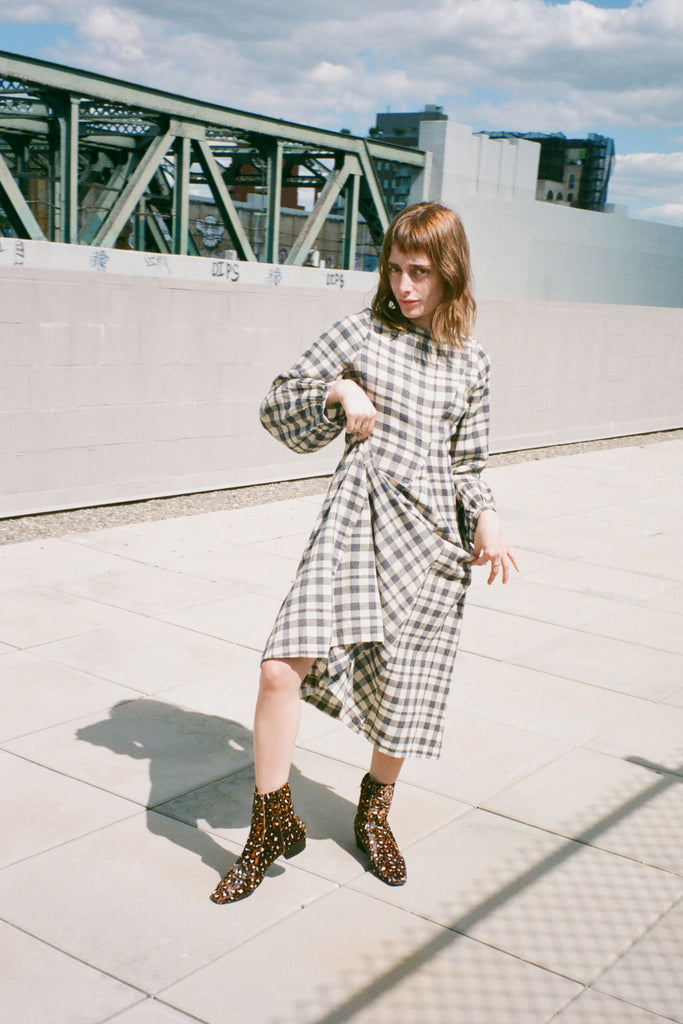 Date Dress - Grey Check