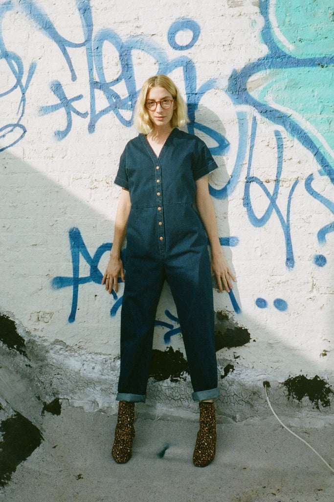 Ilana Kohn Petite Dora Coverall Jumpsuit in Indigo Denim exclusively at STATURE NYC | staturenyc.com