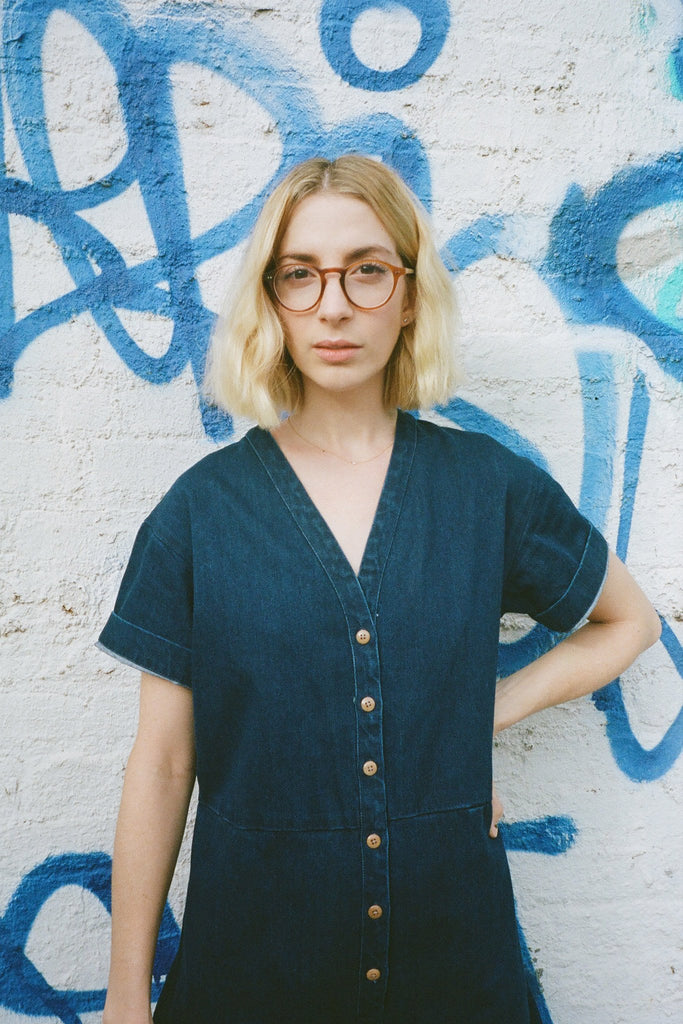 Molly Bernard in Ilana Kohn Petite Dora Coverall Jumpsuit in Indigo Denim exclusively at STATURE NYC | staturenyc.com