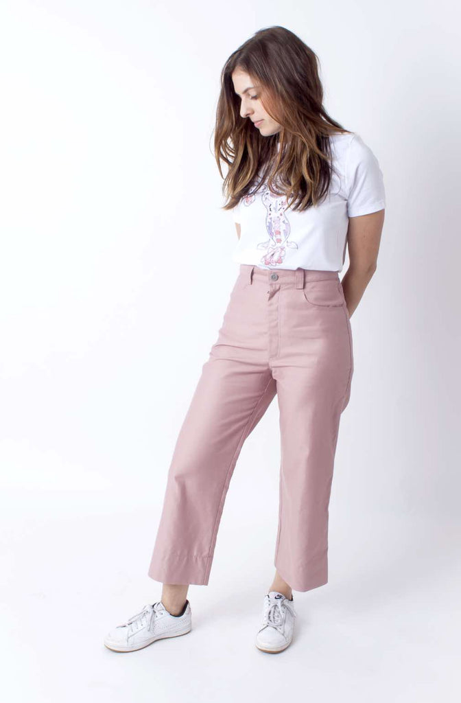 High Waisted Pants (Petite) - Solid Rose