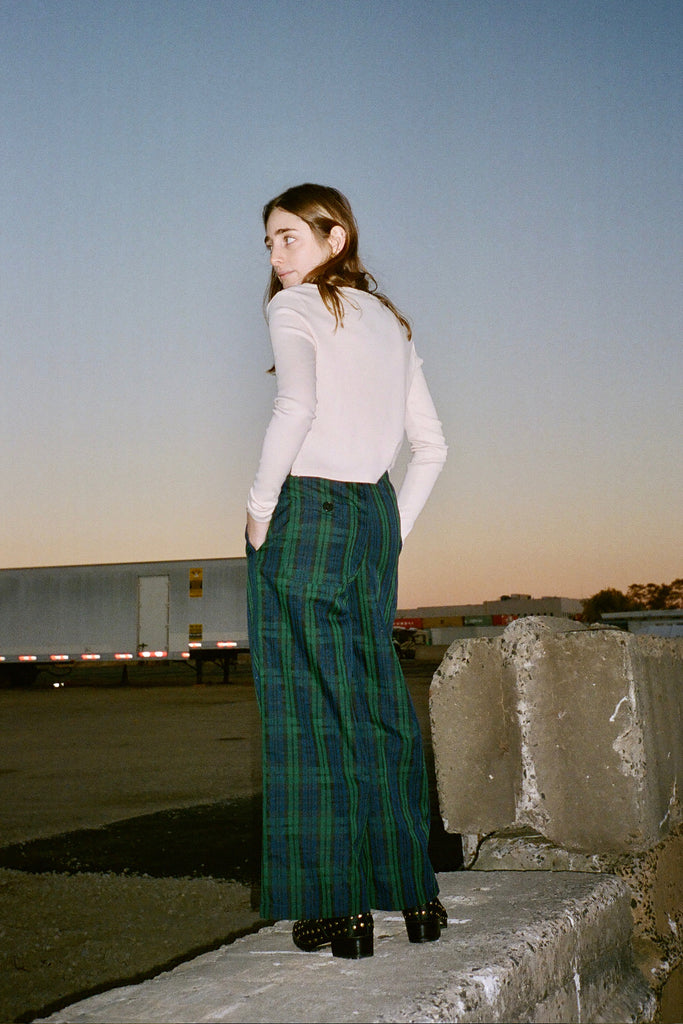 Jo Rosenthal in Lisa Says Gah Elaine Pant (Petite Exclusive) - Regina Plaid at STATURE | staturenyc.com