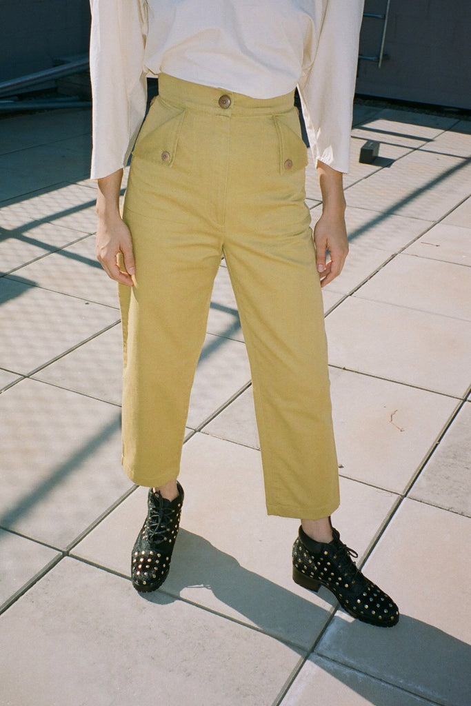 Ilana Kohn Petite Exclusive Huxie Pant in Ochre Yellow at STATURE | staturenyc.com