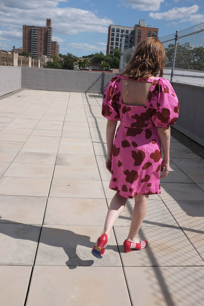 Rachel Antonoff India Dress in Pink & Brown Cow Print at STATURE | staturenyc.com