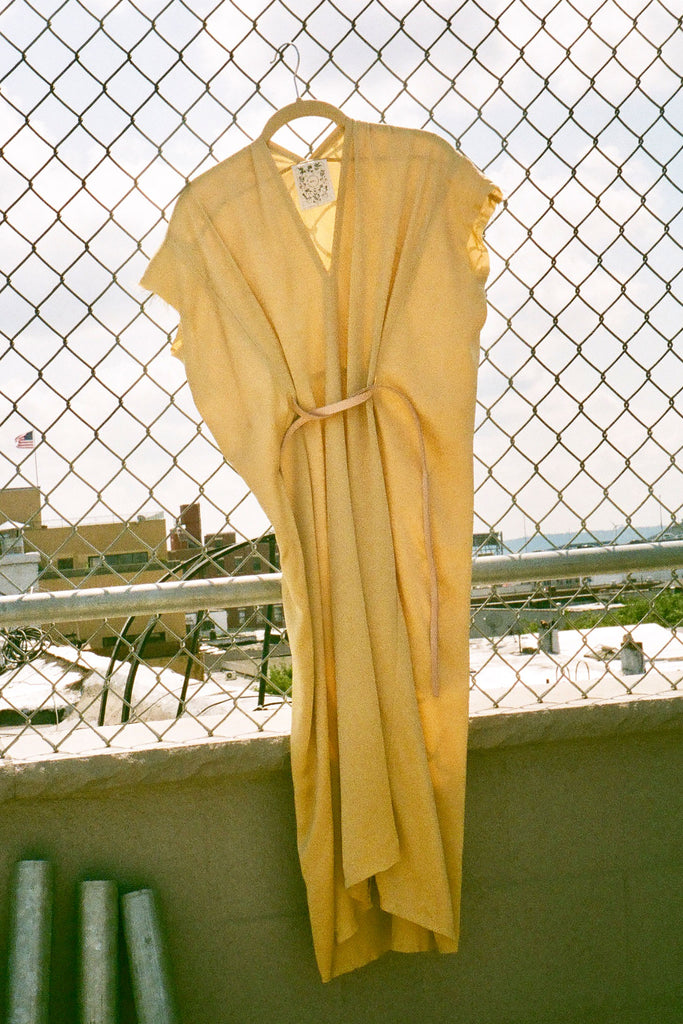 Miranda Bennett Studio Petite Knot Dress in Sumatra Yellow Silk Charmeuse at STATURE | staturenyc.com