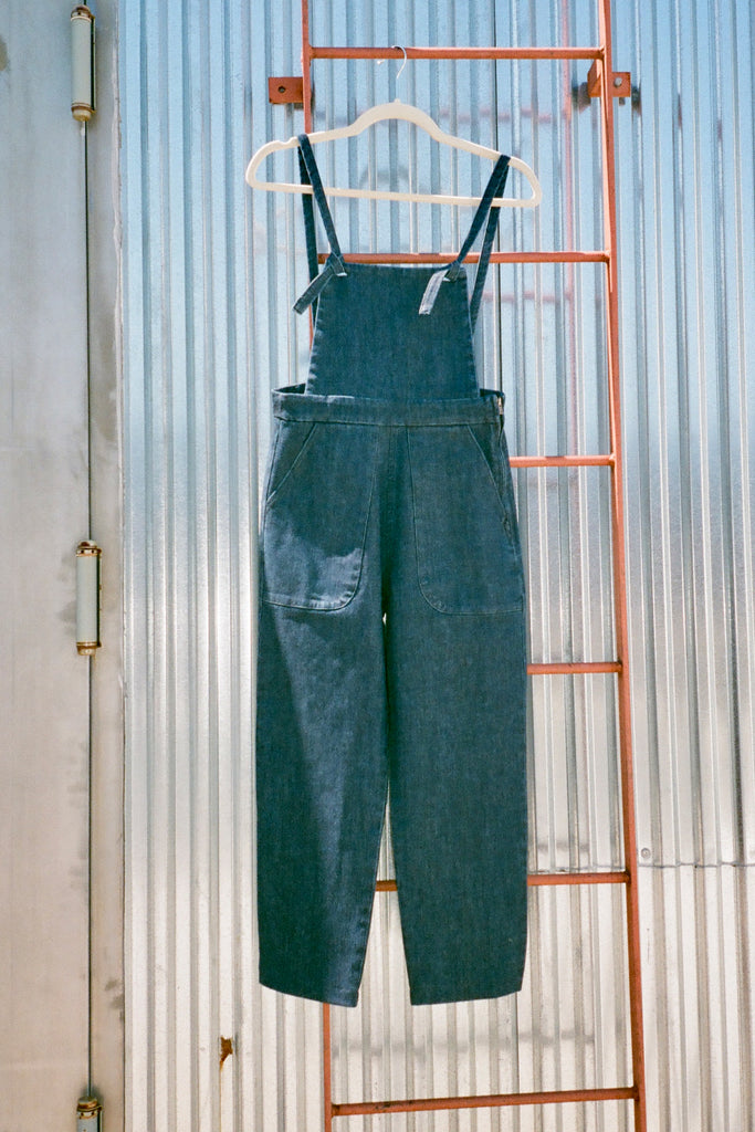 Loup Knot Overalls - Dark Indigo Stretch Twill - Petite Exclusive at STATURE | staturenyc.com