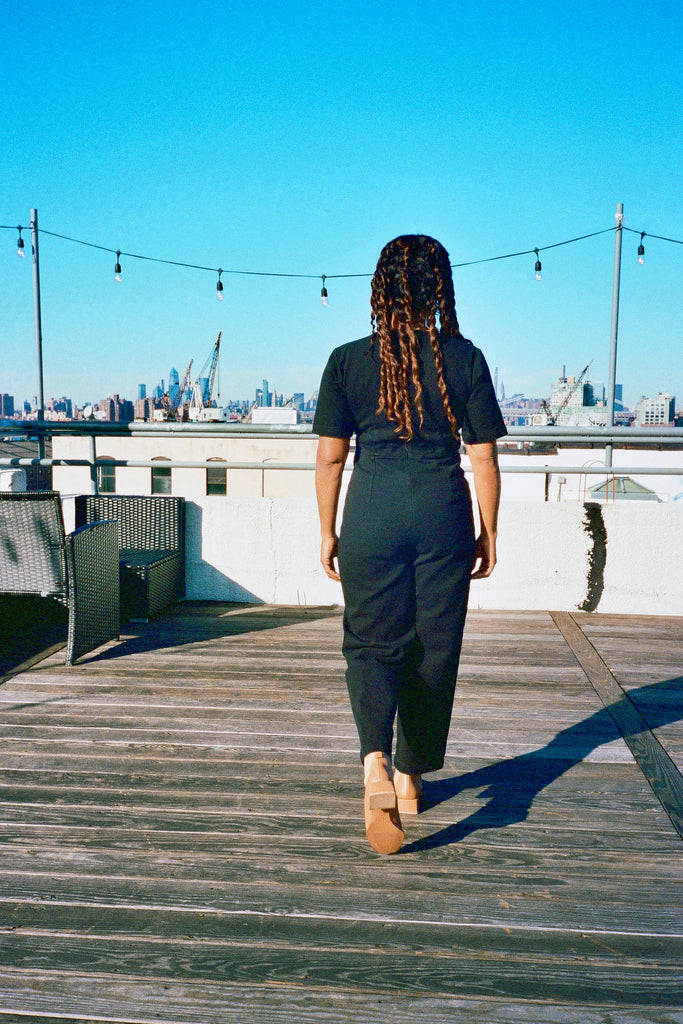 Ilana Kohn Petite Lee Short-Sleeved Coverall Jumpsuit in Black exclusively at STATURE NYC | staturenyc.com