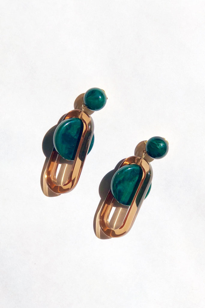 Rachel Comey - Lohr Earrings in Malachite-Amber at STATURE