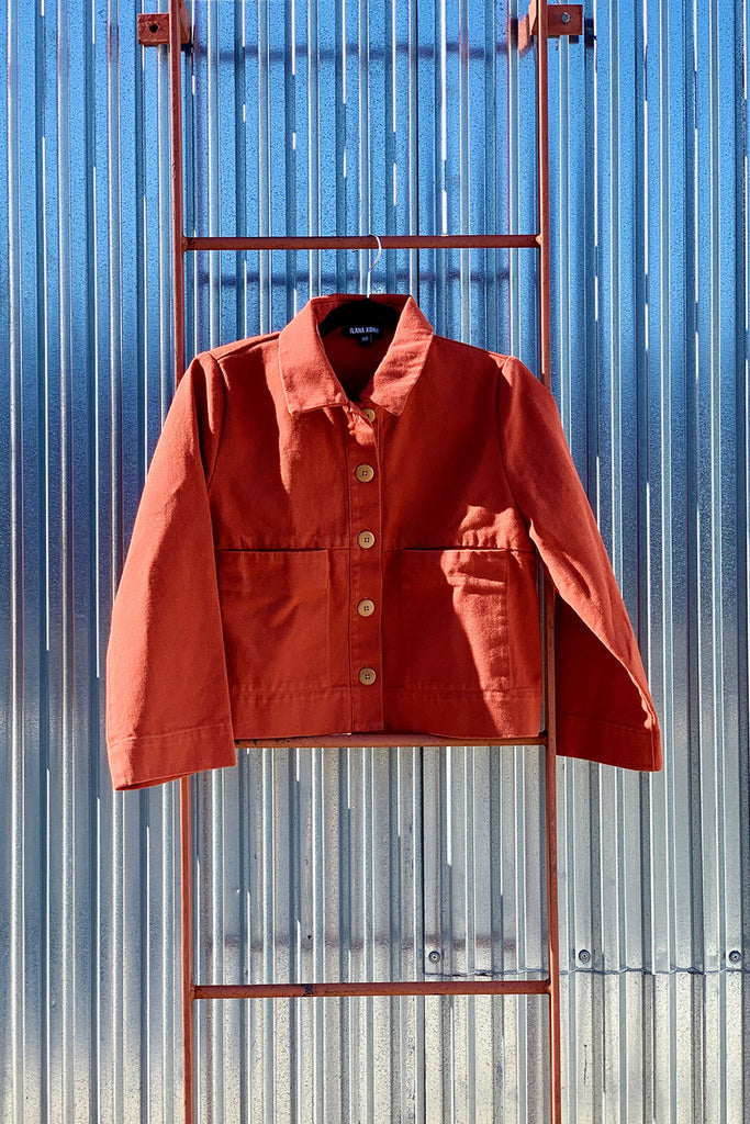 Ilana Kohn Mabel Crop Jacket - Terra Rust Red Cotton Twill at STATURE | staturenyc.com