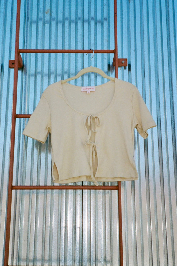 Lisa Says Gah Mia soft Ribbed Tee in Beige at STATURE | staturenyc.com