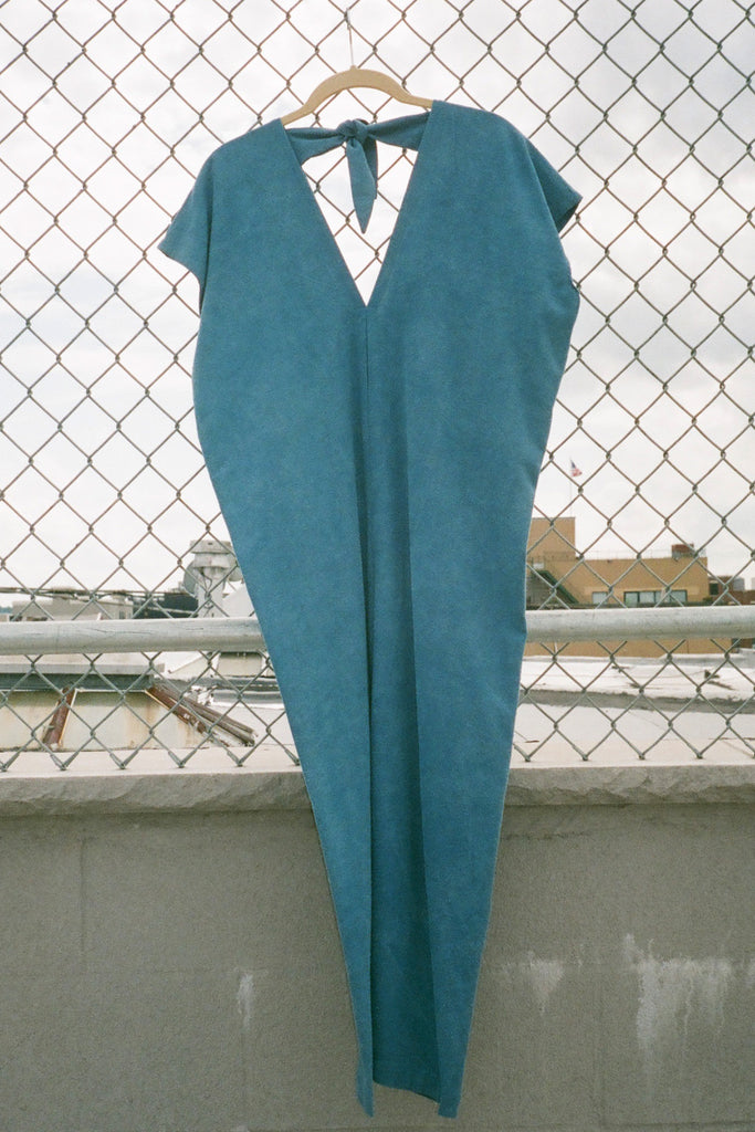 Miranda Bennett Everyday Jumpsuit in Indigo Silk Noil (Petite Exclusive) at STATURE | staturenyc.com