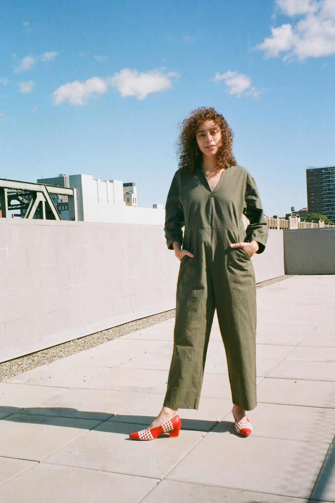 Loup Mona Jumpsuit - Sage Green Stretch Twill - Petite Exclusive at STATURE | staturenyc.com