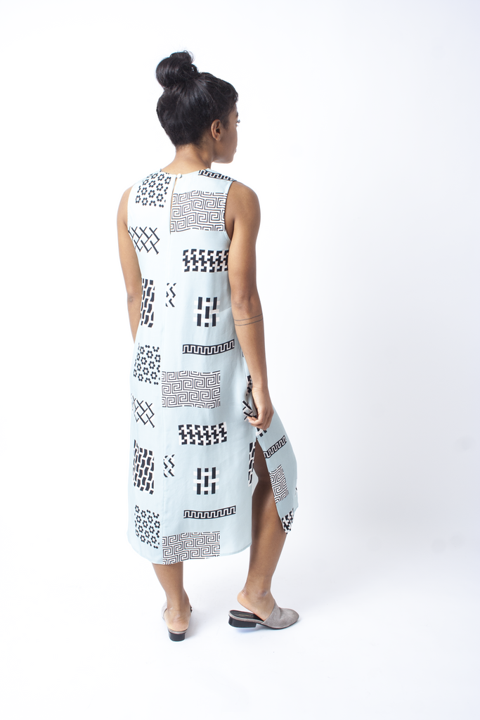 Dusen Dusen Tile Print Jane Midi Dress