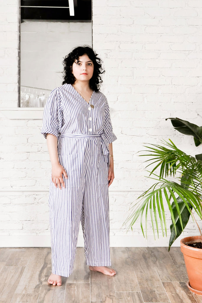 Norma Jumpsuit (Petite Exclusive) - Blue Stripe