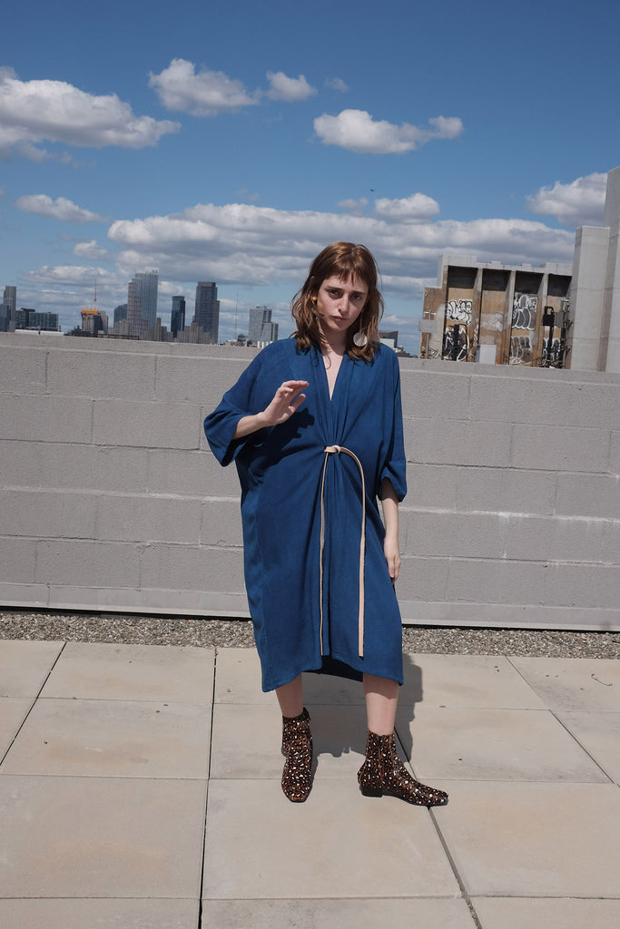 Miranda Bennett Petite O'Keeffe Dress in Indigo Rayon (Exclusive) at STATURE | staturenyc.com
