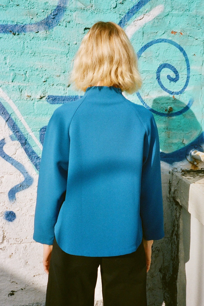 Kaarem Ostra Long Sleeve Raglan Sweatshirt Top - Blue - Exclusively at STATURE | staturenyc.com