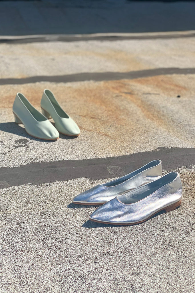 Martiniano Party Flat Shoe - Metallic Silver at STATURE | staturenyc.com