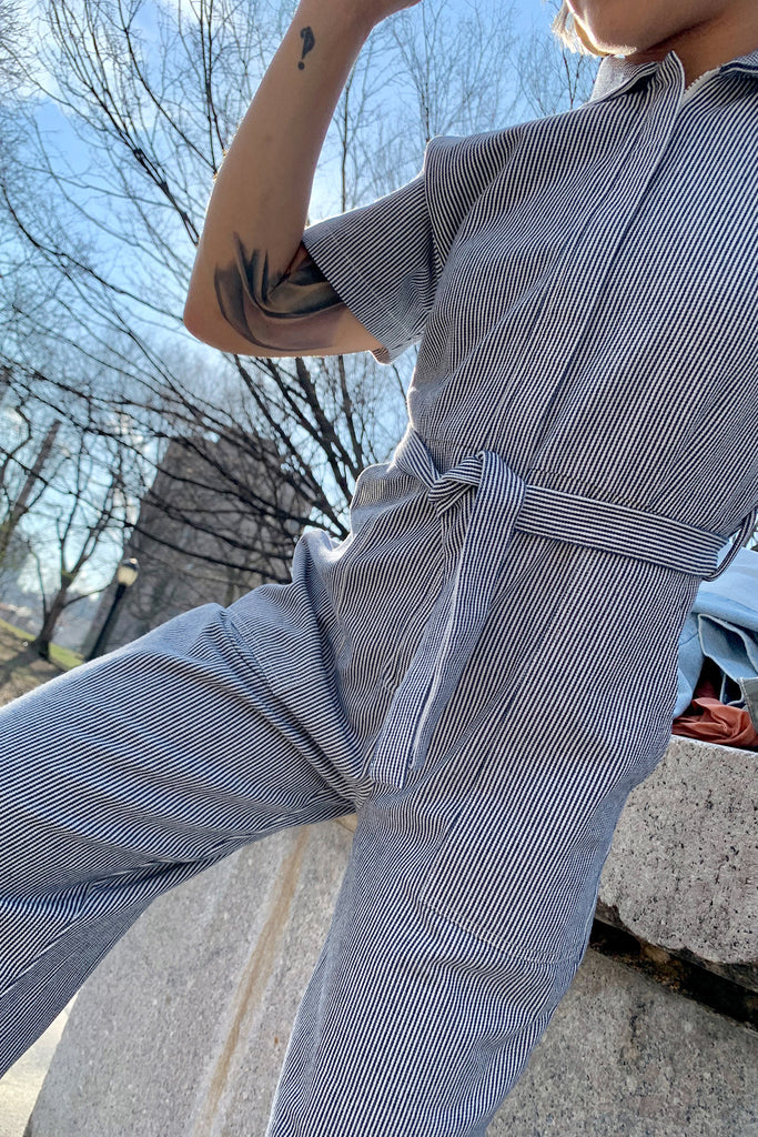 Loup - Patty Worksuit (Petite Exclusive) - Blue Stripes at STATURE | staturenyc.com