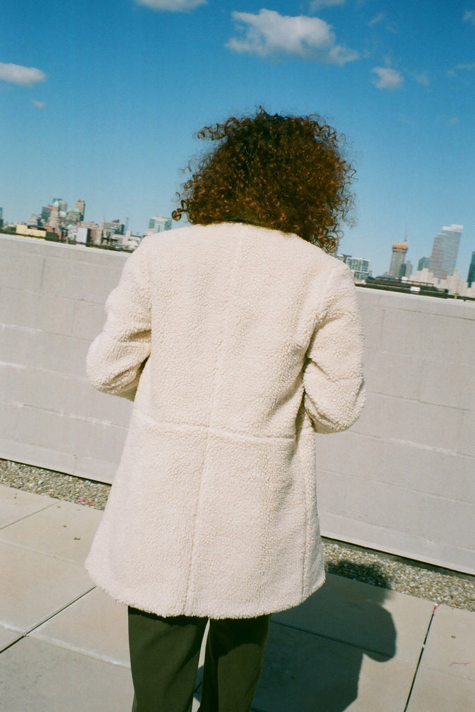Loup NYC Reversible Phoebe Coat (Petite Exclusive) - Ivory/Sage at STATURE | staturenyc.com