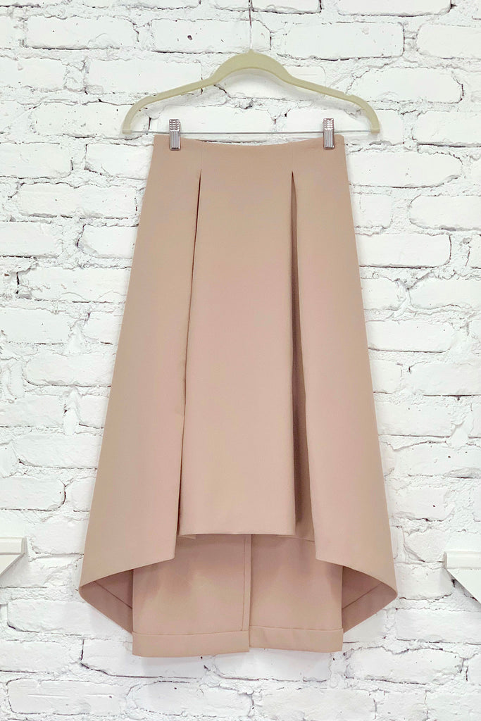Kaarem Piece of Ring Pleated Midi Skirt - Cream at STATURE | staturenyc.com