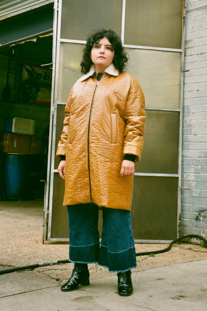 Rachel Comey Jaunt Puffy Coat in Turmeric with shearling collar at STATURE NYC | staturenyc.com