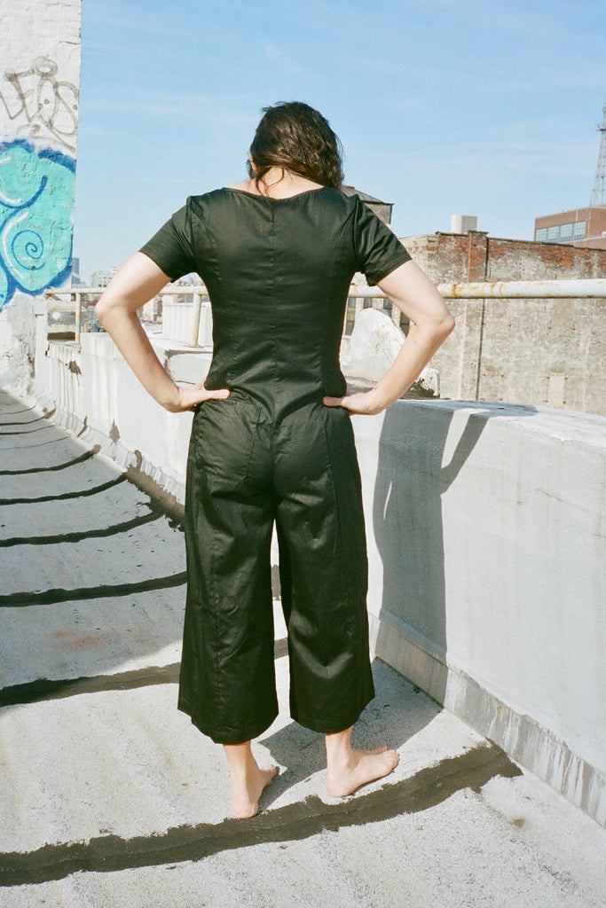 Lisa Says Gah Rita Jumpsuit in Black Cotton Satin - Exclusive Petite Sizes at STATURE | staturenyc.com