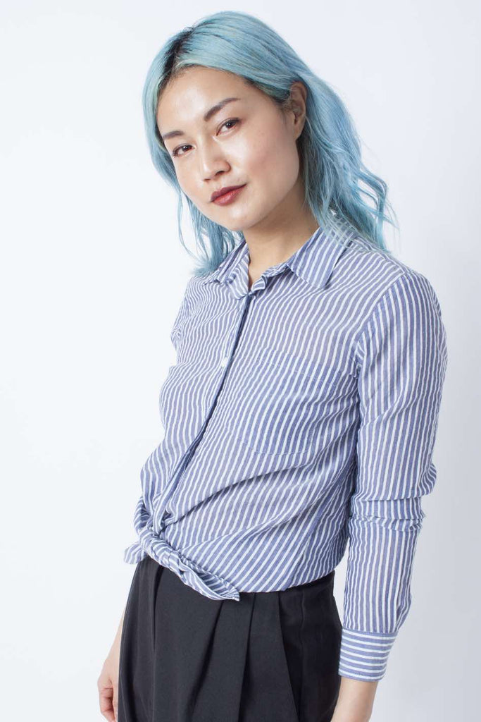 Reverse Seam Shirt - White Blue Stripe