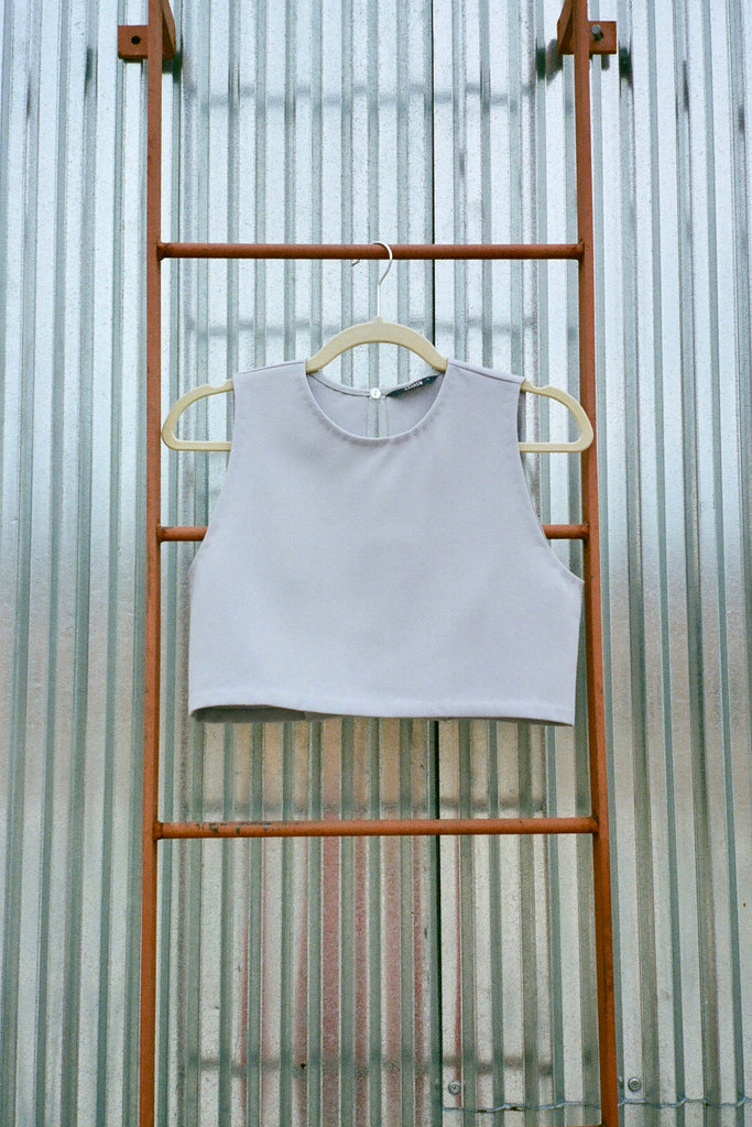 Kaarem Siamese Sleeveless Folded Back Top - Taro at STATURE | staturenyc.com