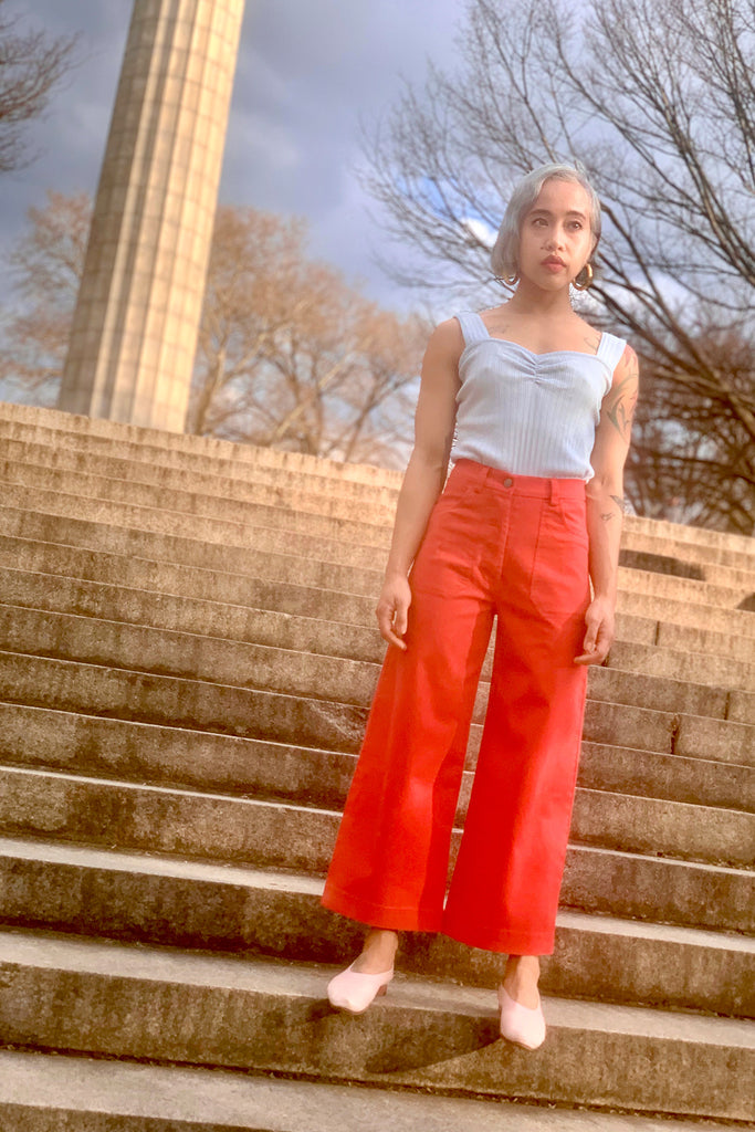 Loup Simone Petite Exclusive Jeans in Red at STATURE | staturenyc.com
