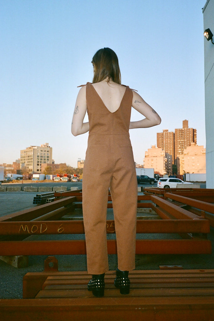 Loup - Slate Coverall (Petite Exclusive) - Tan stretch cotton twill at STATURE | staturenyc.com